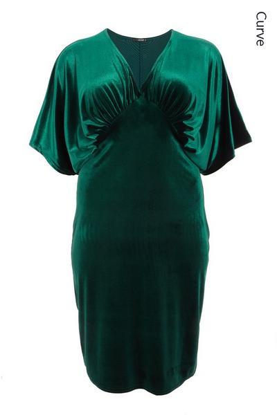 Curve Bottle Green Velvet Midi Dress